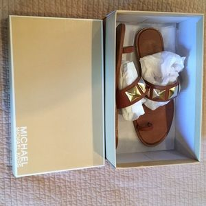 MICHAEL MICHAEL KORS LEATHER SANDALS BROWN 9.5